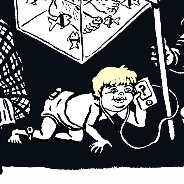 Monday morning in our 50th birthday party #illustration and a young @boris_johnson_official is on the move right. @shoreditchoriginals
