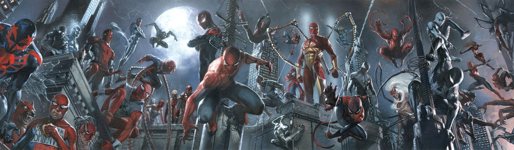 That's a lot of Spider-Men... and women... and dogs... and pigs...and spiders...