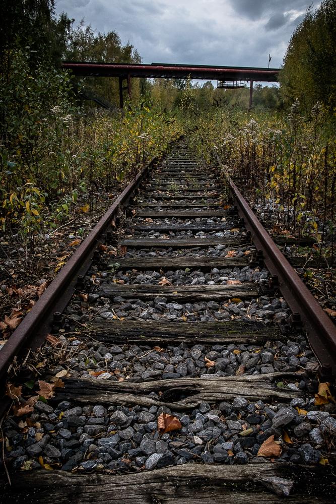 Disused rail tracks exiting Shaft 12 area