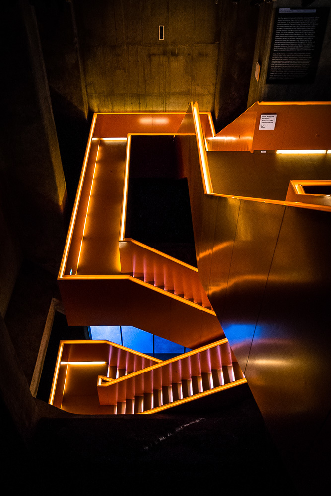 Illuminated staircase down the the Ruhr Museum