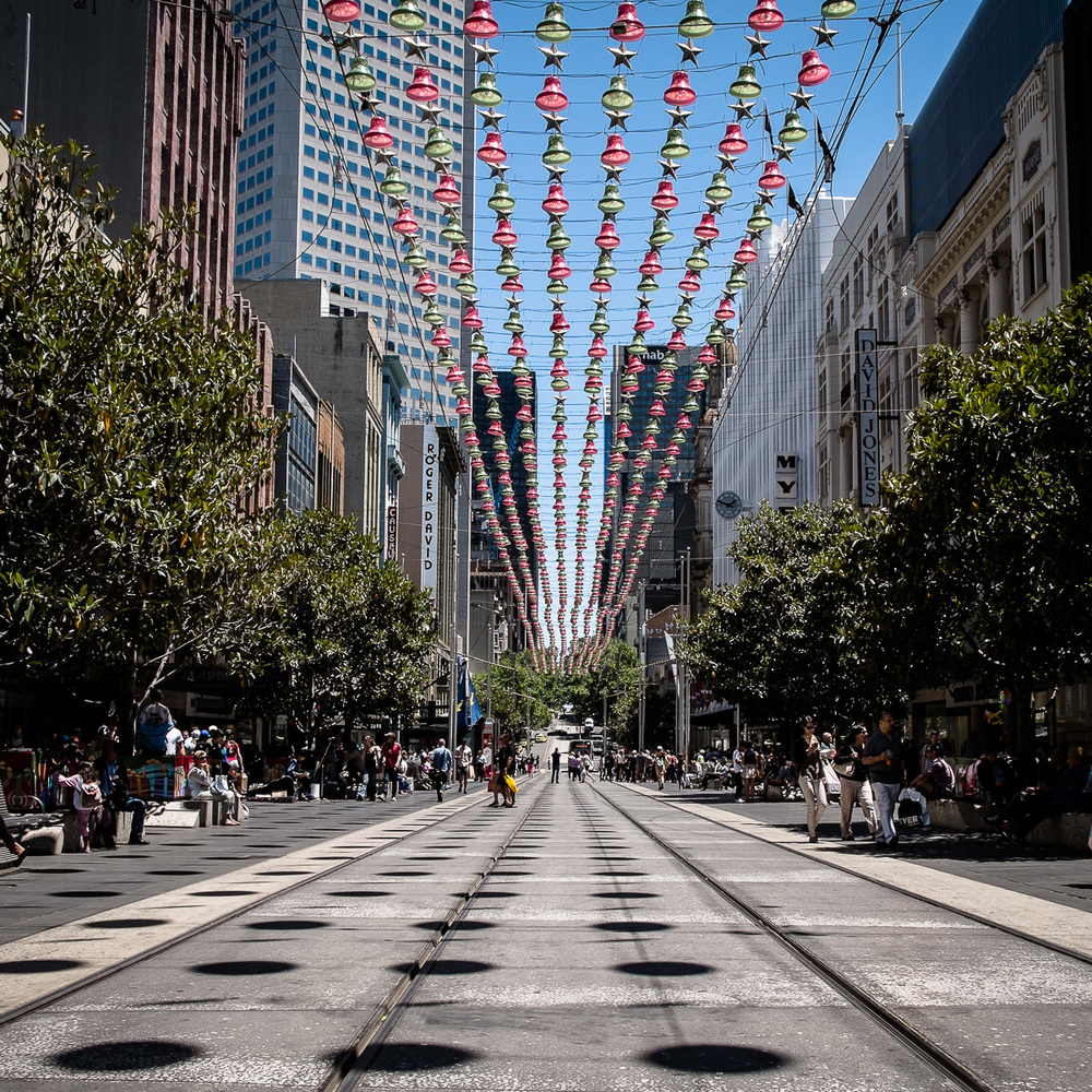 Bourke St Mall with Christmas lights