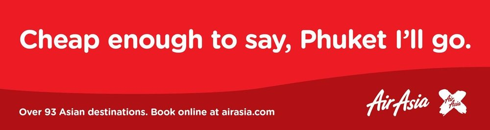 Air Asia's headline uses humour to attract attention (and prospective vacationers)