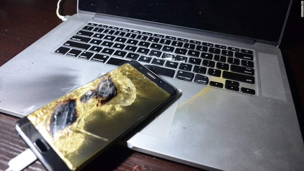 A portion of Samsung's Galaxy Note 7 phones were manufactured with defective batteries that created a significant amount of heat while charging – enough to melt the phone's casing and cause burns to anything around it.