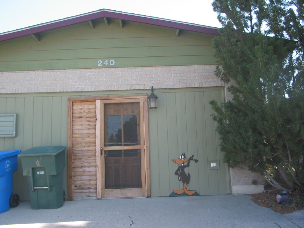 Here is the front door to my studio. You can see a cut out of Daffy Duck my sister Debbie painted for me. You will see more of Daffy inside.