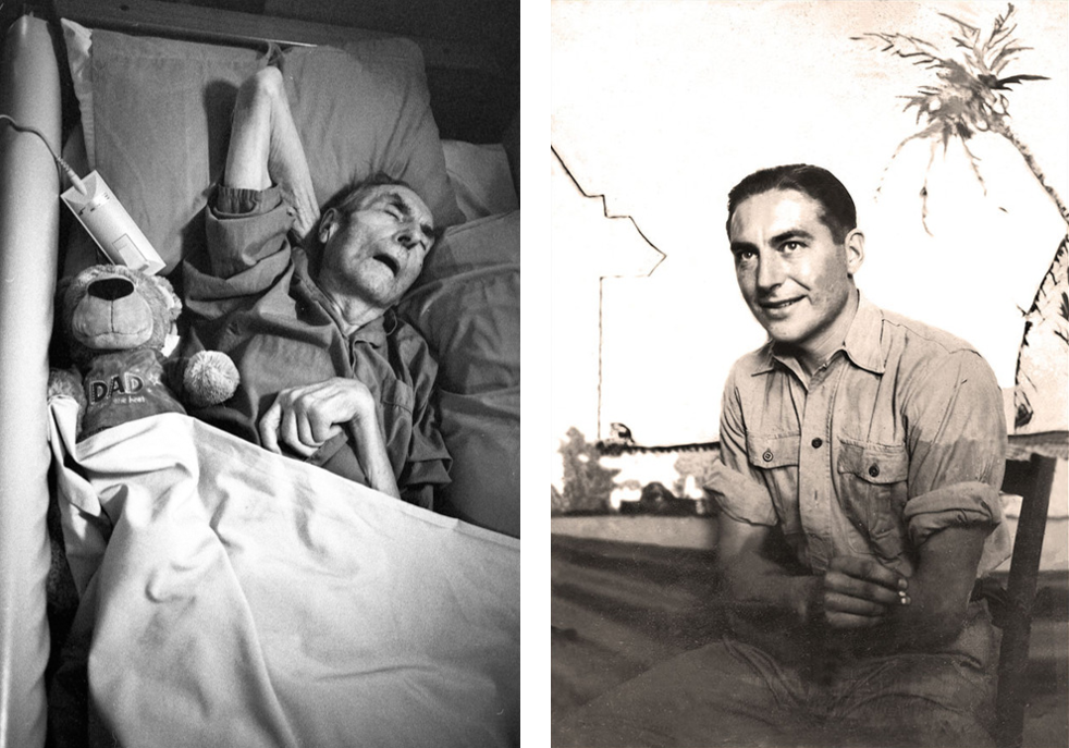 Left:   Dennis sleeps on Father's Day 2009.       Right:  A portrait of Dennis as a young man taking during his WW2 national service stationed in Algiers.    Dennis passed away on the 2nd January 2011.