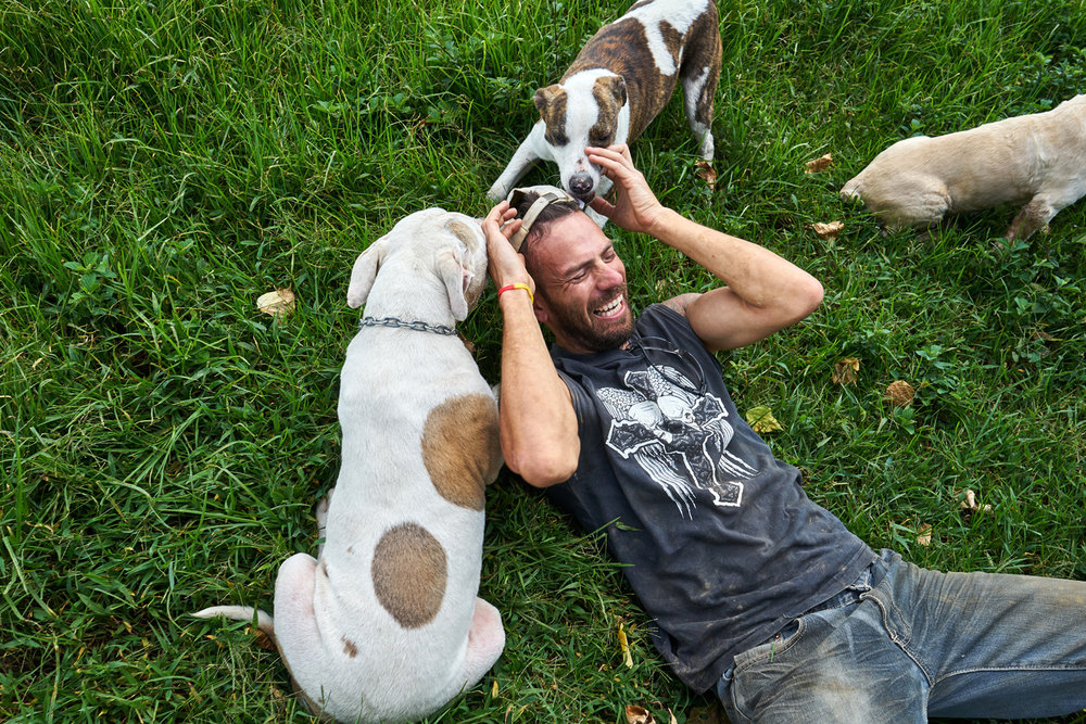 Freddy, who volunteers at the shelter at weekends, plays with a couple of the shelter's dogs.