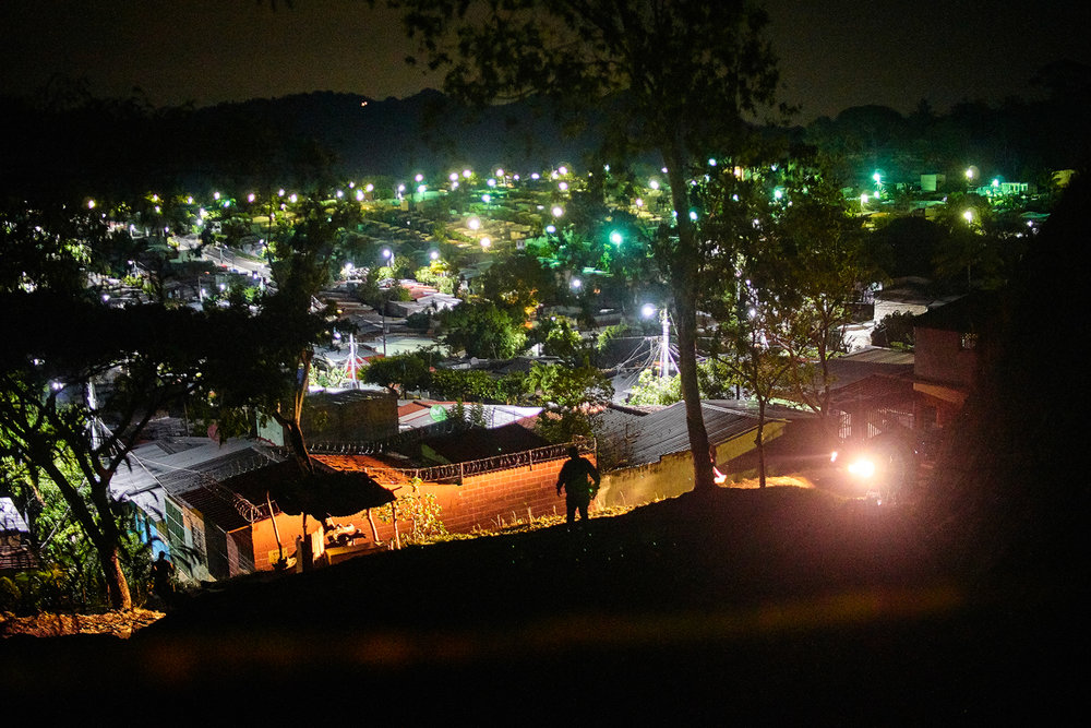 Police patrol murder scene in Montelimar neighbourhood, Olocuilta.  El Salvador is consistently among world's most dangerous countries. In recent years gang violence has plagued the country forcing many citizens to flee in migrant caravans in search of a better life to the north in the USA.