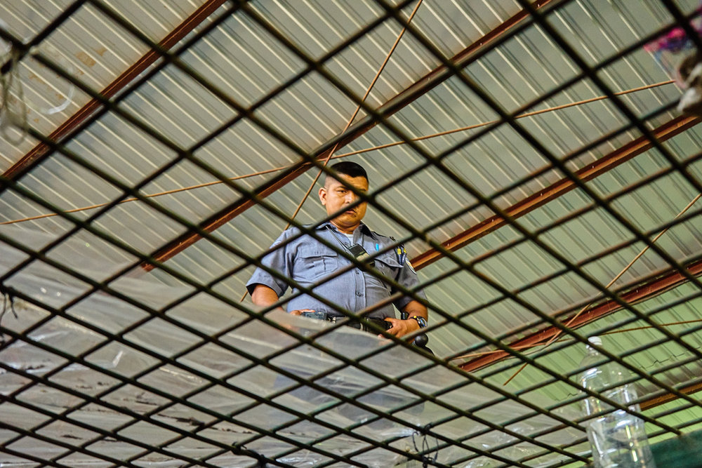 Prison warden looks through the caged roof of a cell in Apanteos prison