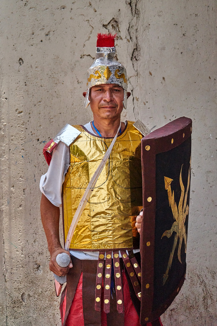 Horacio, an ex MS-13 gang member serving time for homicide, wears a Roman soldier outfit that he made for recent Easter celebrations. The costume was made during an arts and crafts programme which is part of 'Yo Cambio' a government run scheme to provide inmates with High school equivalency qualifications to better equip themselves for life outside of prison. Apanteos Prison.