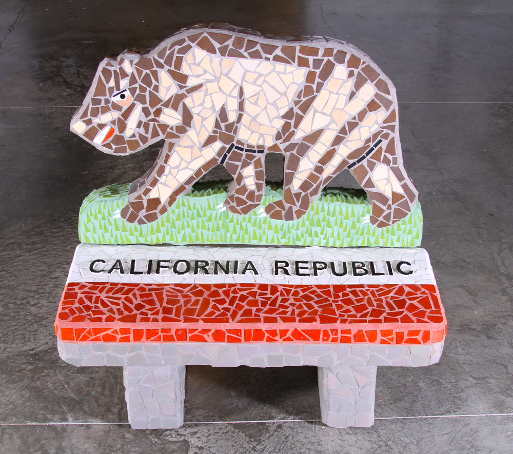 """California Republic Bench"" 50""x48""x37"" Ceramic tile and cement 2011"
