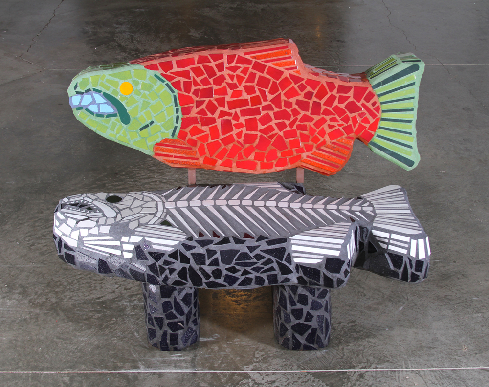 """ Salmon's Shadow"" (Bench)     41""x51""x30""    Mosaic tile and cement    2011"