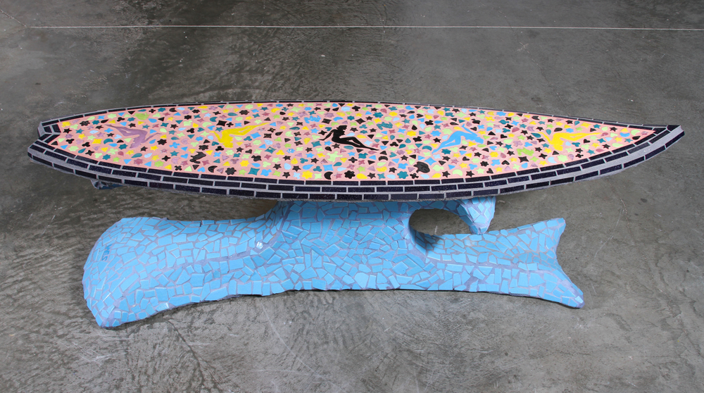 """Magic Mystery Surf"" 23"" x 71"" x 21"" Ceramic Tile and Cement 2010"