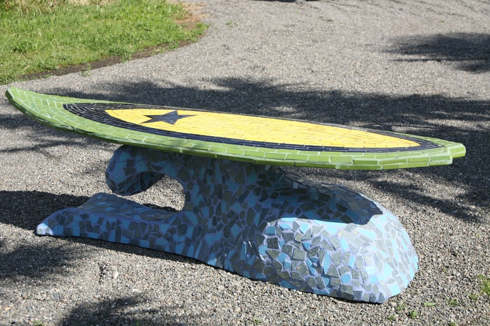 """Constellation Surf"" 23"" x 71"" x 21"" Ceramic tile and cement 2010"