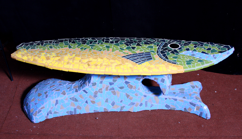 """Trout Surf"" (Bench) 23"" x 71"" x 21"" Ceramic tile and cement 2010"