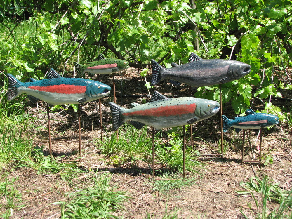 """Garden Swimmers""  Various sizes  Ceramic on steel rods  2012"