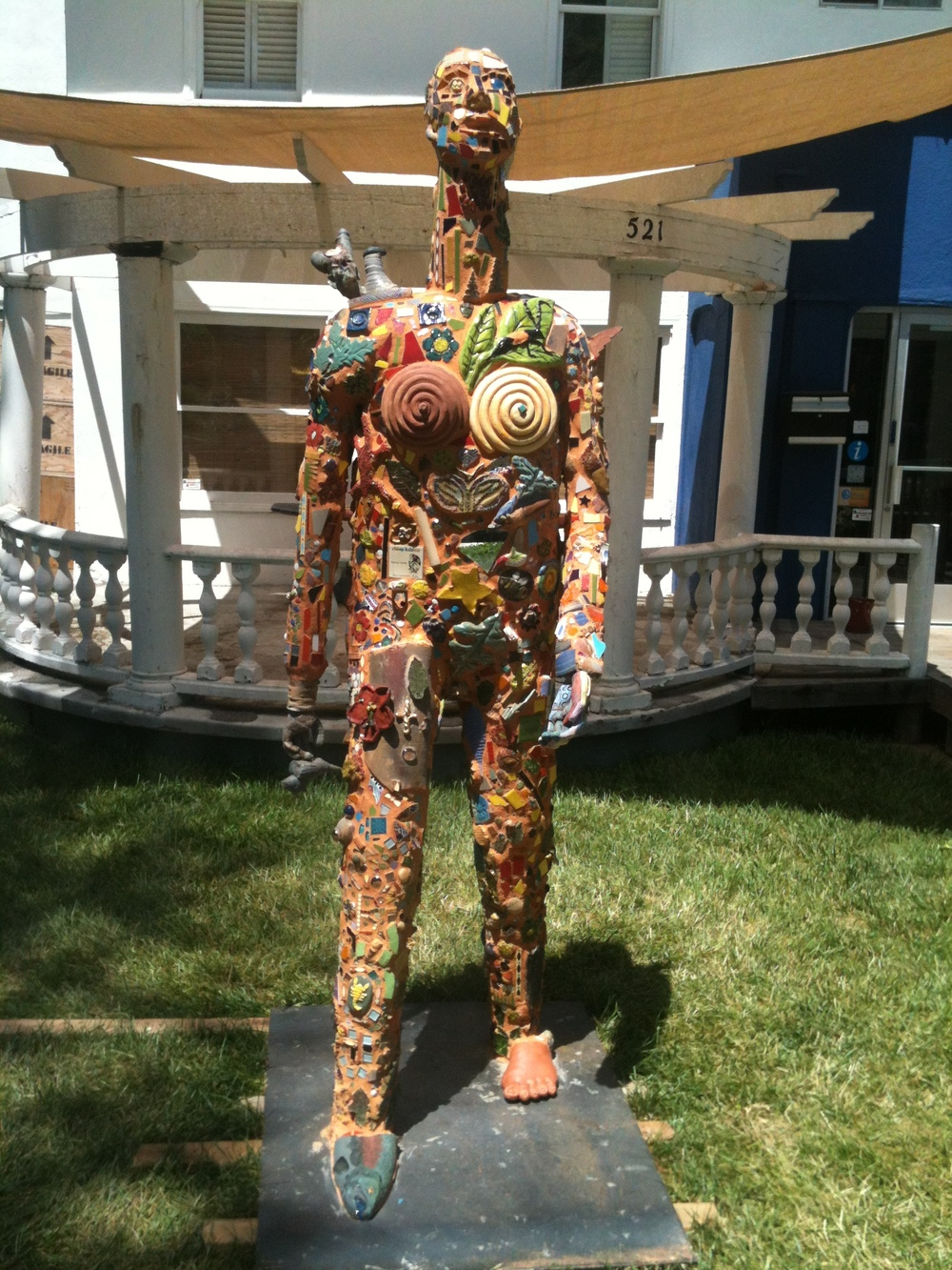 "Collaboration, aka ""JACK"" Built with community and CA college collaboration Assembled ceramic bits and mixed media 2012 Donation to the City of Davis Transmedia Art Walk"