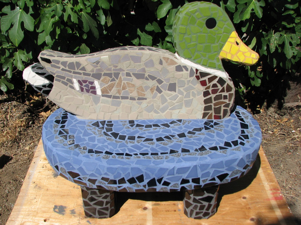 """Mr.Mallard Bench"" 48""x51""x30"" Mosaic tile and cement 2011"