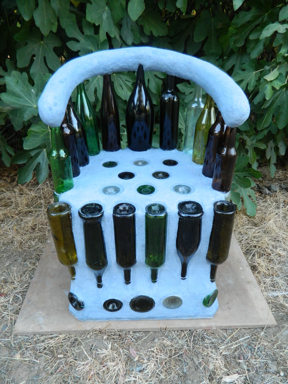 """Wine Seat  Glass bottles and cement  34""""x24""""x20""""  2013"""