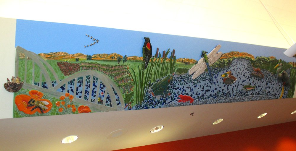 """Tour de Davis: Putah Creek"" 3'4""x18' Ceramic relief and tile Located in Children section of Davis Branch of Yolo County Library"