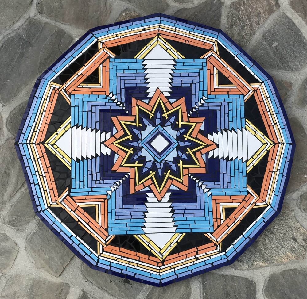 """Ojo de Dios II"" 50""x50"" Ceramic Tile and Cement 2018"