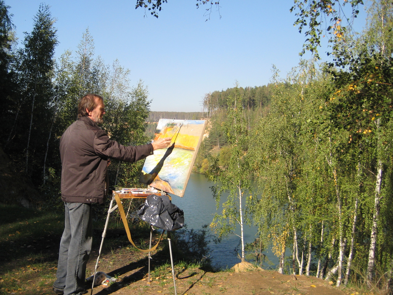 painter-on-the-banks-of-the-dzerzhinsky-lakes