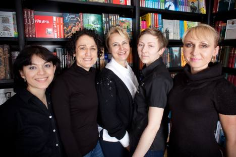 Pictured (left to right): Booksellers Dina White, Karolina Duskova, Marina Fountain, Maryia Padziarei, Tatiania Sidornia. Paul Read / The Press Photo