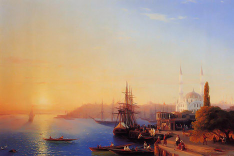 "Ivan Aivazovsky's ""View of Constantinople and the Bosphorus"" sold for more than $5.2 million, breaking yet another record in the booming world of Russian art. Pictured: Photocopy of the painting"