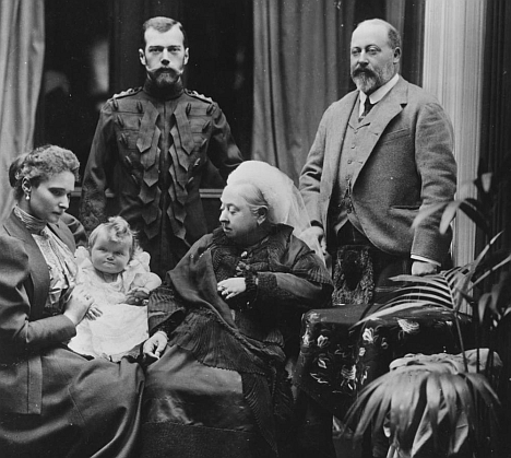 European union: Clockwise from top, Tsar Nicholas II, Edward, Prince of Wales, Queen Victoria and Alexandra Feodorovna (with nine-month-old daughter Olga) at Balmoral in 1896. Source: Getty Images.