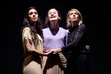 "The Young Vic's brand new ""Three Sisters"" abandons the traditional grammar of Chekhovian parasols and antique furniture in favor of tattoos and tracksuits, handbags and high heels. Source: Press Photo / Simon Annand"