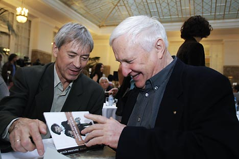 "Eduard Kochergin (pictured right) won the Russian National Bestseller award in 2010 for his memoir ""Christened with Crosses."" Source: RIA Novosti / Igor Samoilov"