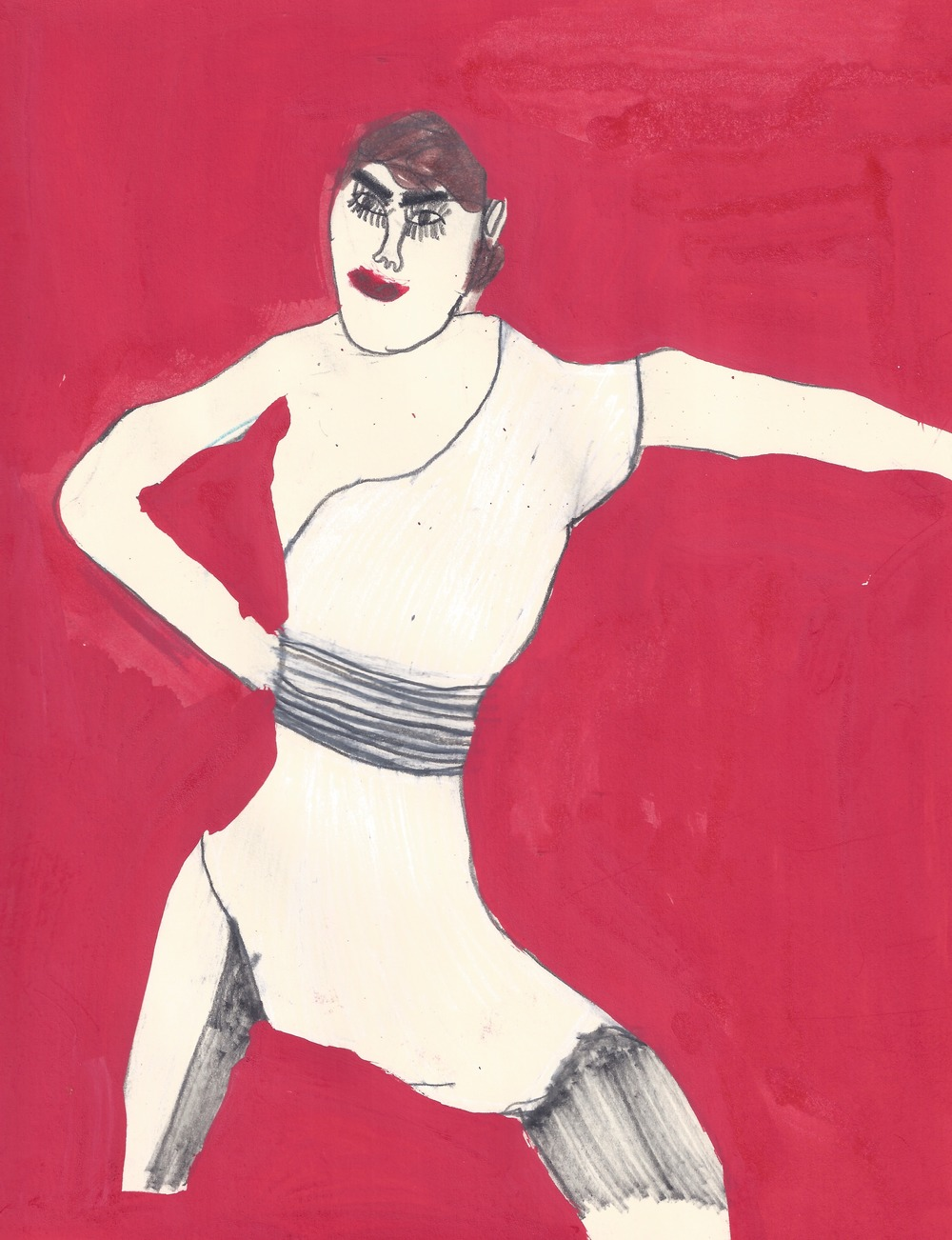 "Byron Smith, Model on Red Back Ground, 2014, Ink on Paper, 11""x8.5"""