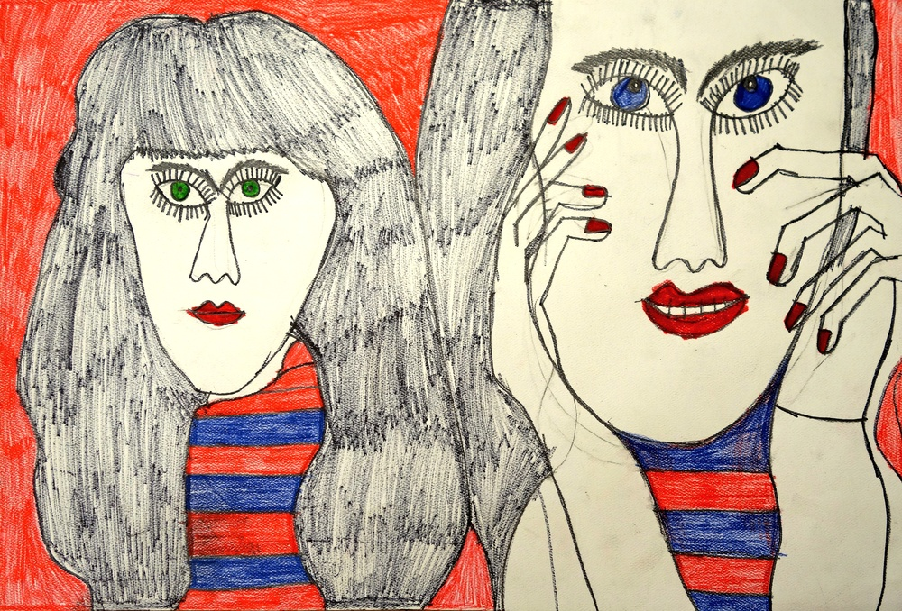 "Byron Smith, Models in Stripes, 2015, Ink on Paper, 15""x22"""