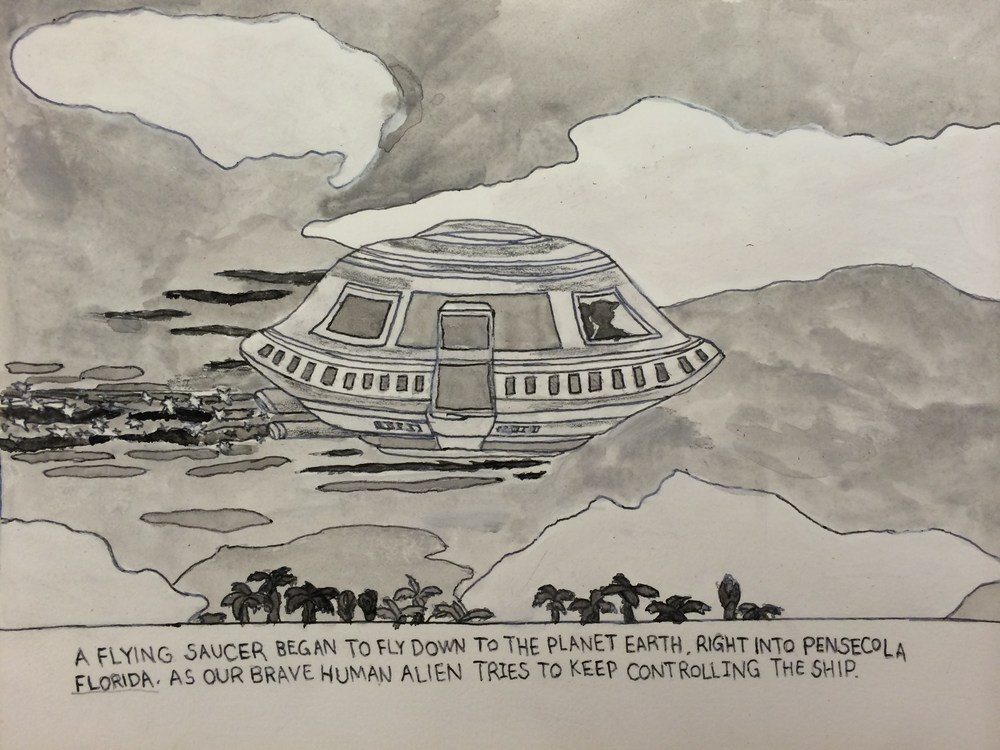 Carlo Daleo, Spaceship Arriving on Earth, 2015, Watercolor on Paper,  copy.JPG