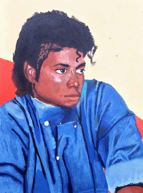"Myasia Dowdell, Michael Jackson, 2013, Acrylic on Canvas, 12""x 9"""