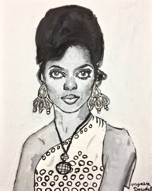 Myasia Dowdell, Diana Ross, 2014, Acrylic on Canvas, 20″x16″