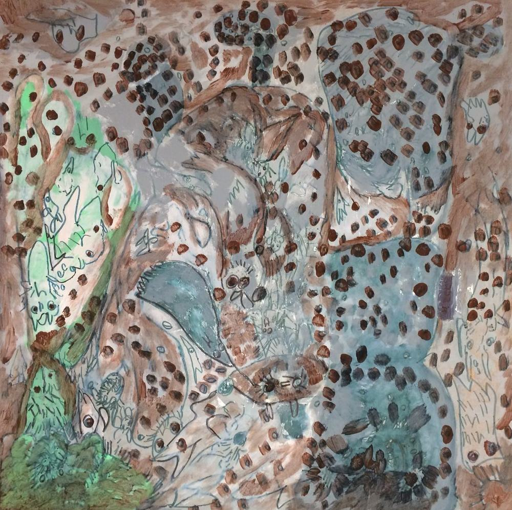 Rudy Bansray, Untitled, 2014, Mixed Media on Canvas Board, 19.5%22x19.5.JPG