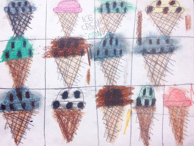 "Drew Haigler, Ice Cream Cones, 2012, Mixed Media on Paper, 6""x10"""