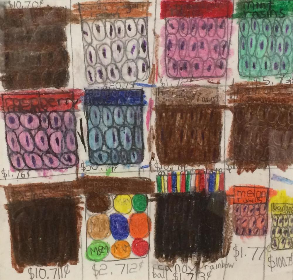 "Drew Haigler, M&Ms, 2009, Mixed Media on Paper, 9.5""x10"""