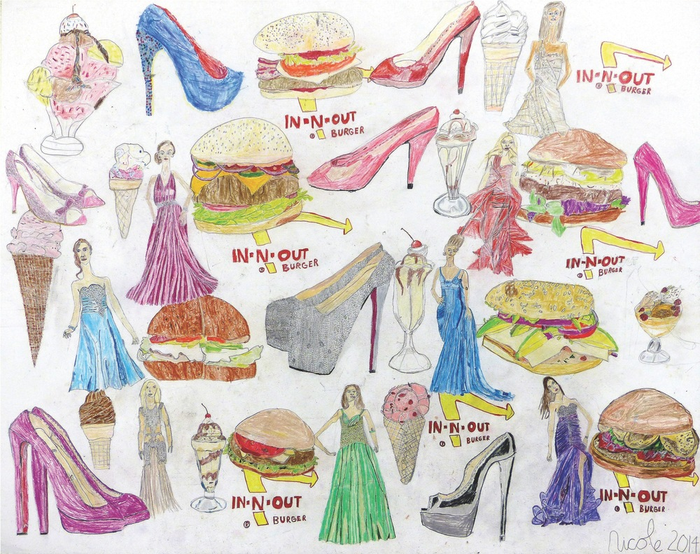"Nicole Appel, Burgers, Heels and Dresses, 2014, Pencil on Paper, 19""x24"""