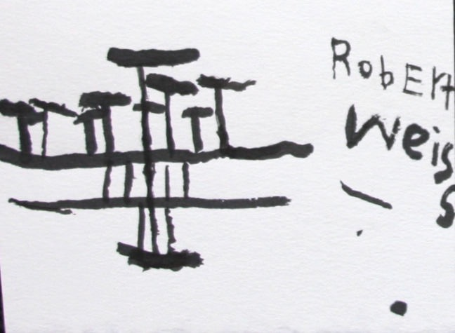 "Robert Weiss, untitled, 2010, ink on paper 5"" x 7"""