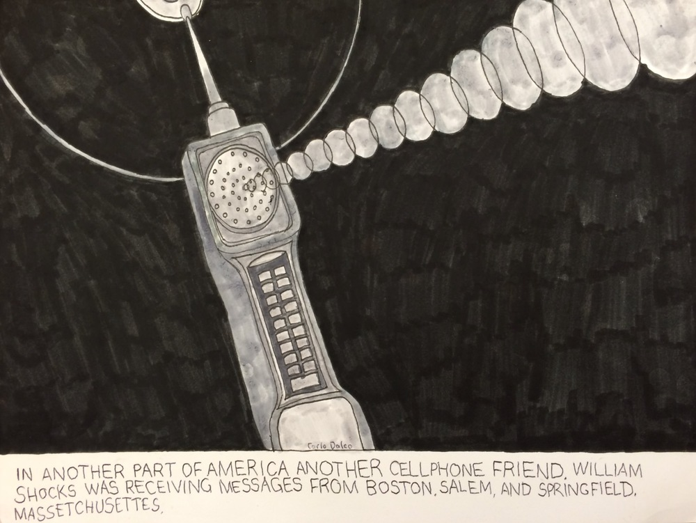 "Carlo Daleo, Talking Cellphone, 2015, Mixed Media on Paper, 9.5""x12.5"""