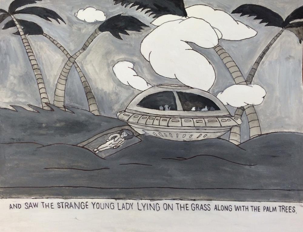 "Carlo Daleo, Melissa Sue Crash Lands on Earth, 2015, Watercolor on Paper, 10.75""x12"""