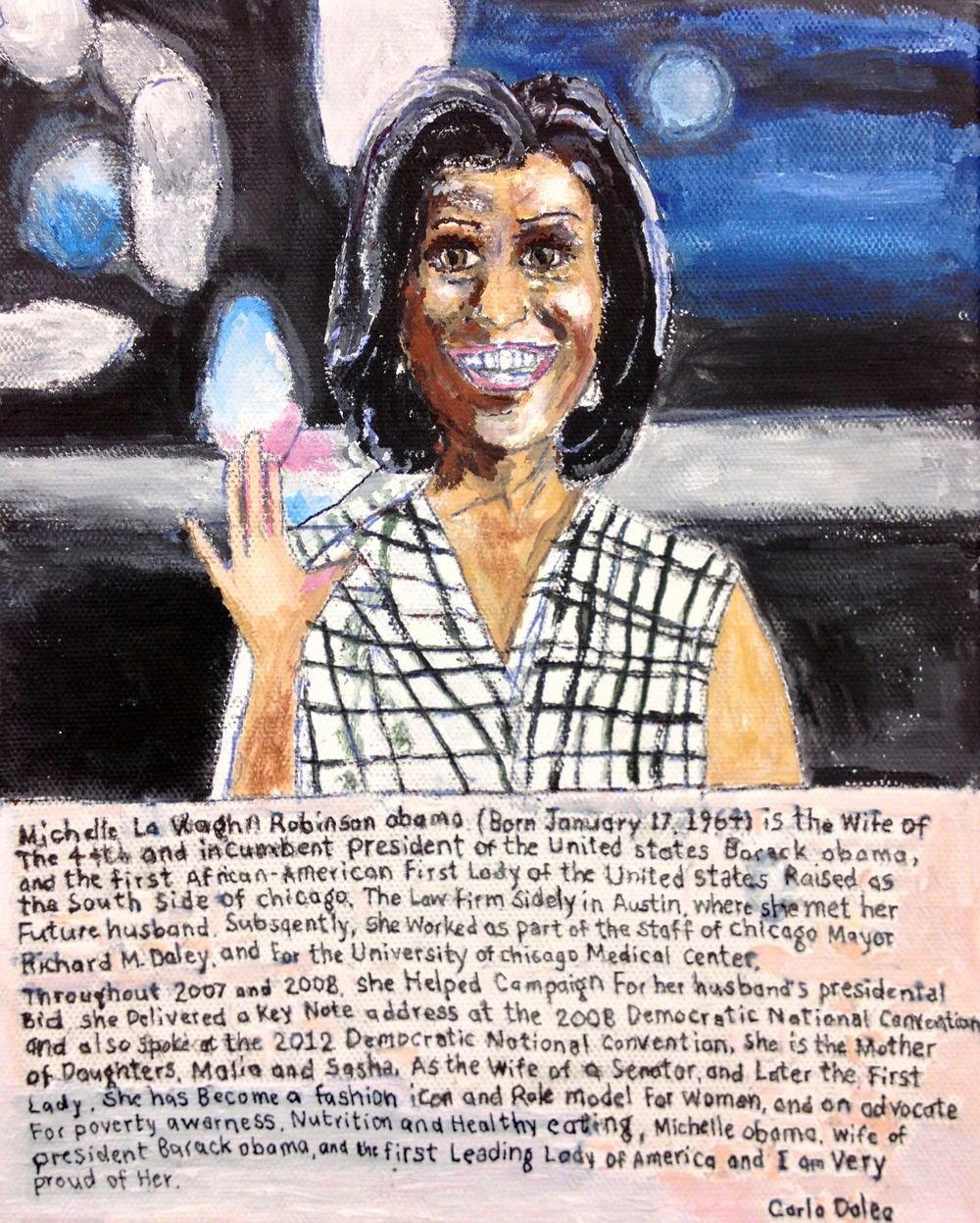 "Carlo Daleo, Michelle Obama, 2012, Acrylic on Canvas Board, 20""x18"""