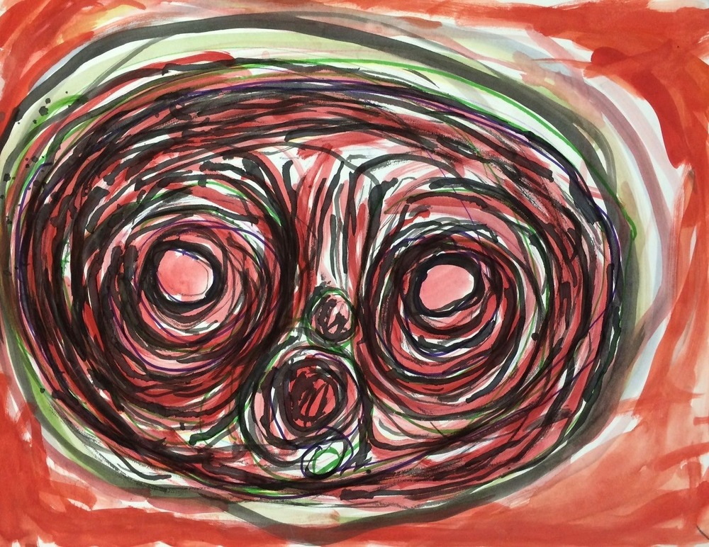 "Joyce Frizell, Owl, 2014, Mixed Media on Paper, 20""x18"""