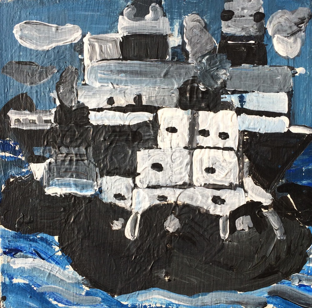 "Robert Latchman, Boats, 2013, Acrylic on Canvas, 8""x8"""