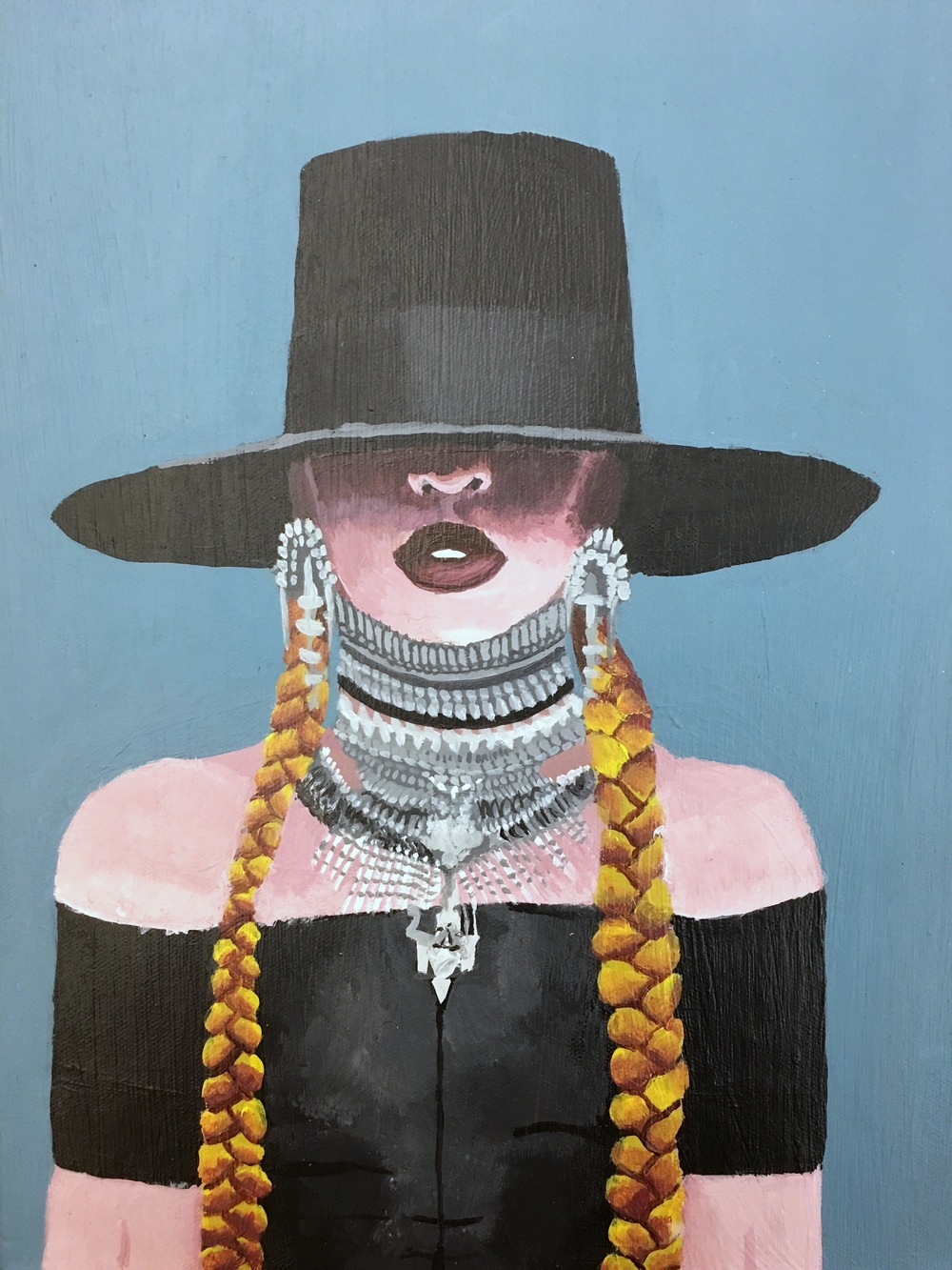 "Myasia Dowdell, Beyonce, 2016, Acrylic on Canvas, 13""x10"""