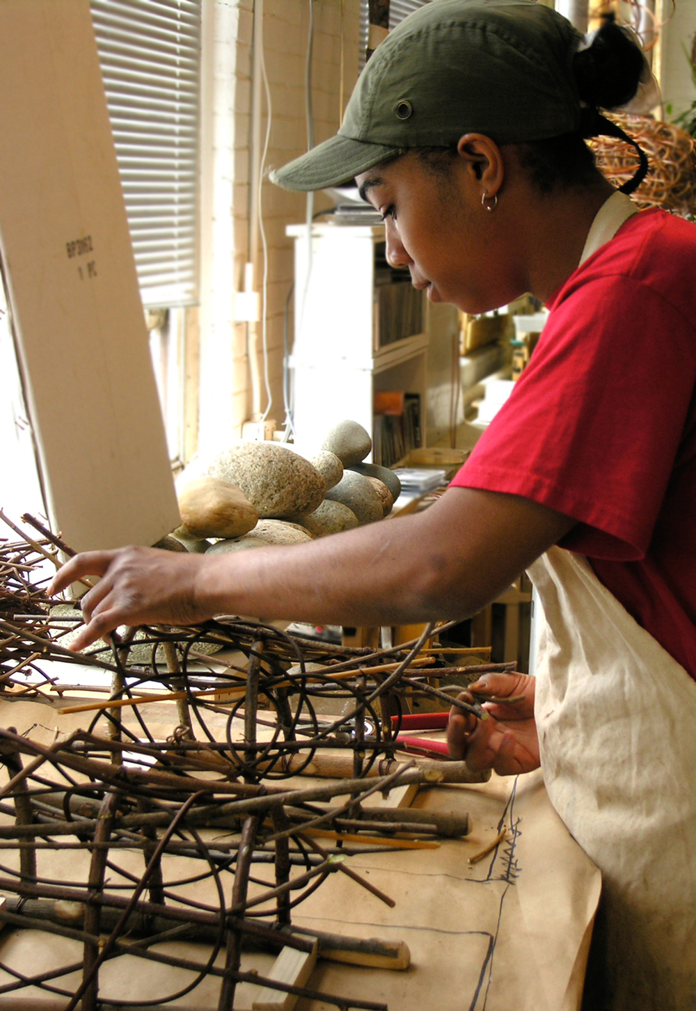 Weaving Thicket Sconces for the Marriot Hilton Head Spa in South Carolina.