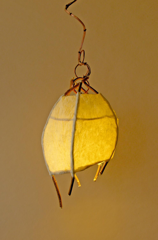 Tiny Pod Pendant WIsteria Vines Handmade Japanese Paper