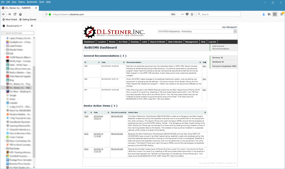The ReBEEMS Dashboard lists  general recommendations  and  device-specific action items  that will help you maintain a truly reliable electrical distribution system. Action Items result from D.L. Steiner system studies (e.g., arc flash hazard analysis). General Recommendations result from studies, or they can be user defined.