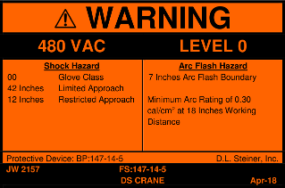 Example D.L. Steiner arc flash Warning label